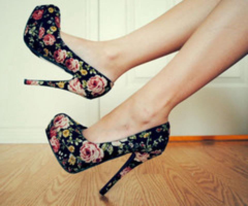 flowers, girl, shoes
