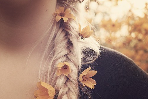 flowers, hair, plait