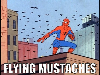 flying, mustache, spiderman
