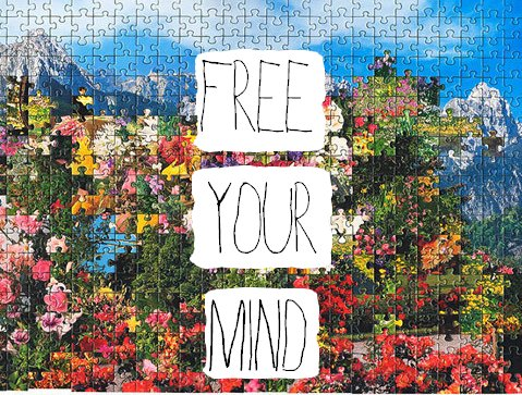 free your mind, puzzle, typography