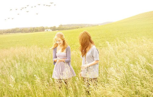 friends, girls, grass, meadow, sky
