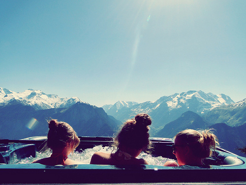 fun, girls, holiday, mountains, snow, sun, winter