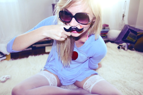 girl, glasses, mustache