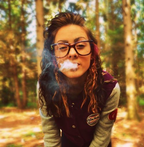 girl, glasses, piercing, pretty, smoke