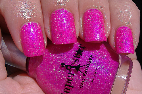 girl, glitter, nail polish, pink, pretty, sparkly