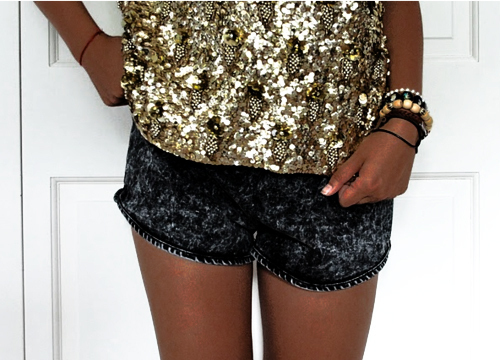 girl, glittery, gold, jeans, pretty, shirt, shorts, sparkly