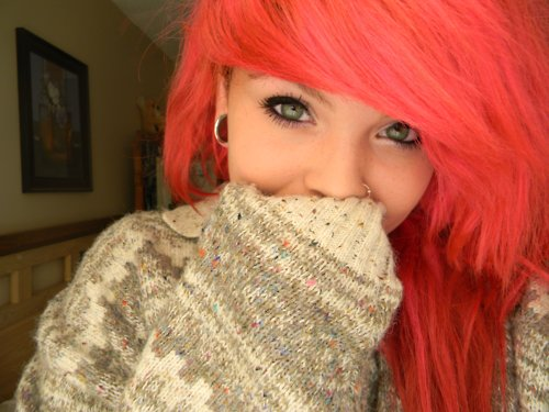 girl, hair, piercing, pink hair, plugs, red hair