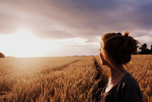 girl, hay, sky, sunset