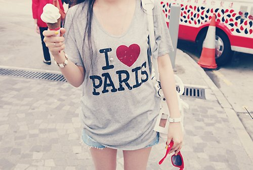girl, ice cream, jeans, paris, pretty, shirt, shorts