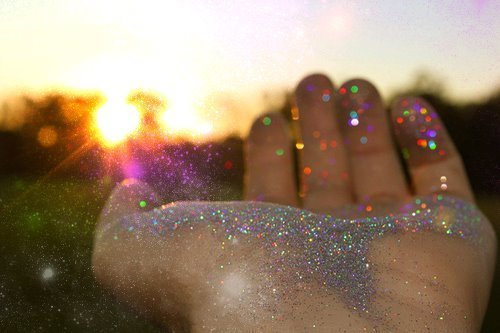 glitter, hand, light, sparkles, sparkly