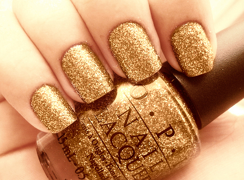 gold, nail polish, nails, opi