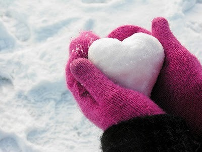 hands, heart, hearts, pink, snow