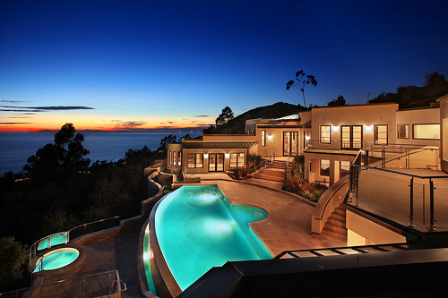 home, house, lights, luxury, mansion, pool, sunset