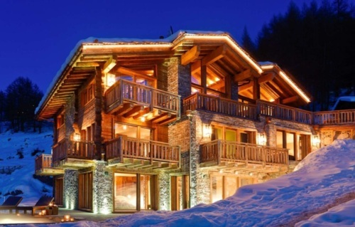 house, lights, luxury, night, snow, winter, wood