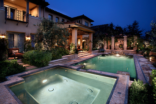 house, lights, luxury, photography, pool