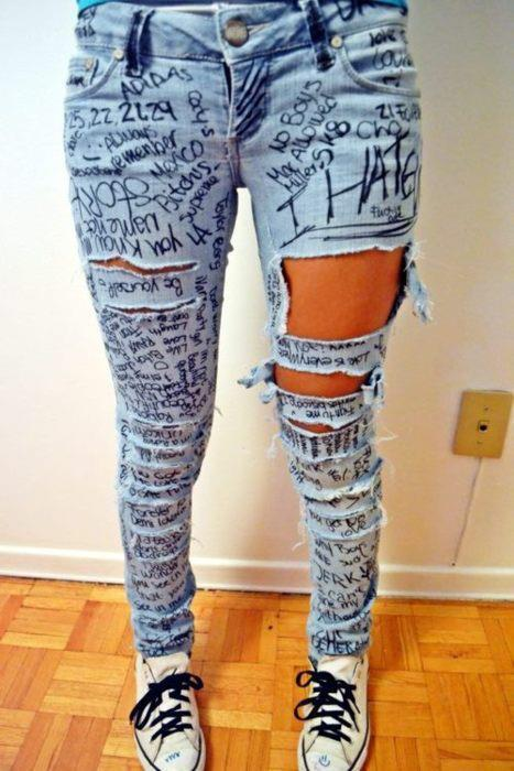 jeans, quotes, ripped