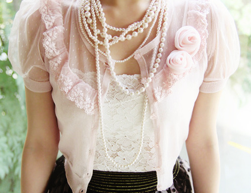 jewellery, pearls, pink, vintage, white