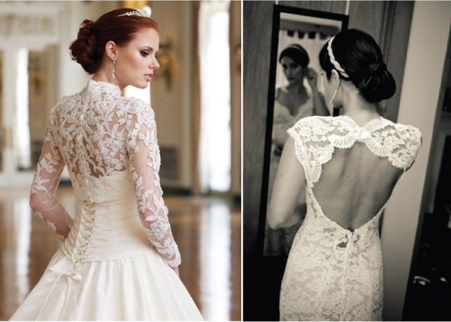 wedding dress with lace back