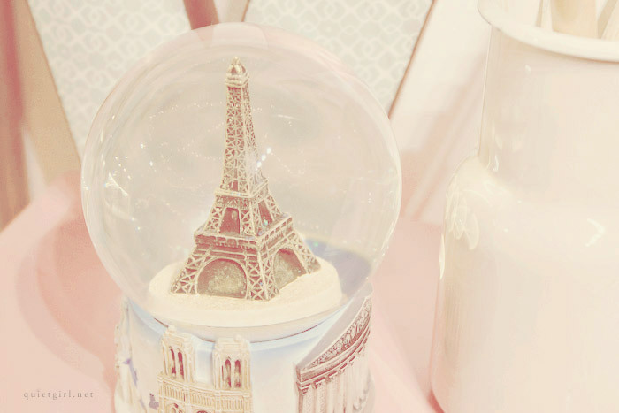 paris, pastel, snow globe