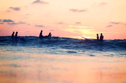 pretty, summer, sunset, surfing