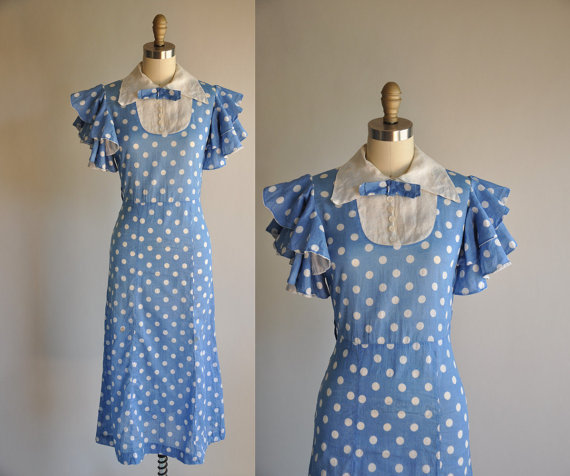30s, 40s, blue, dot, dress, vintage