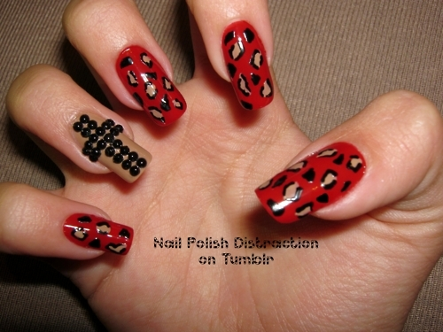 accent, animal, beige, black, cheetah, cross, design, leopard, mani, manicure, mixed, nail, nail art, nail polish, nails, polish, print, red, rhinestones