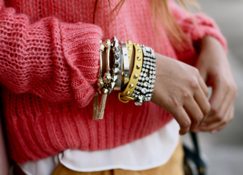 accessories, bracelet, bracelets, cable knit, chains, charms, cute, fashion, pink, studded, studded bracelet, studs, sweaters, warm