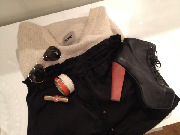 acne, campbell, fashion, jeffrey campbell, lipstick, outfit, ray ban, sunnies, tokyo jane, ysl