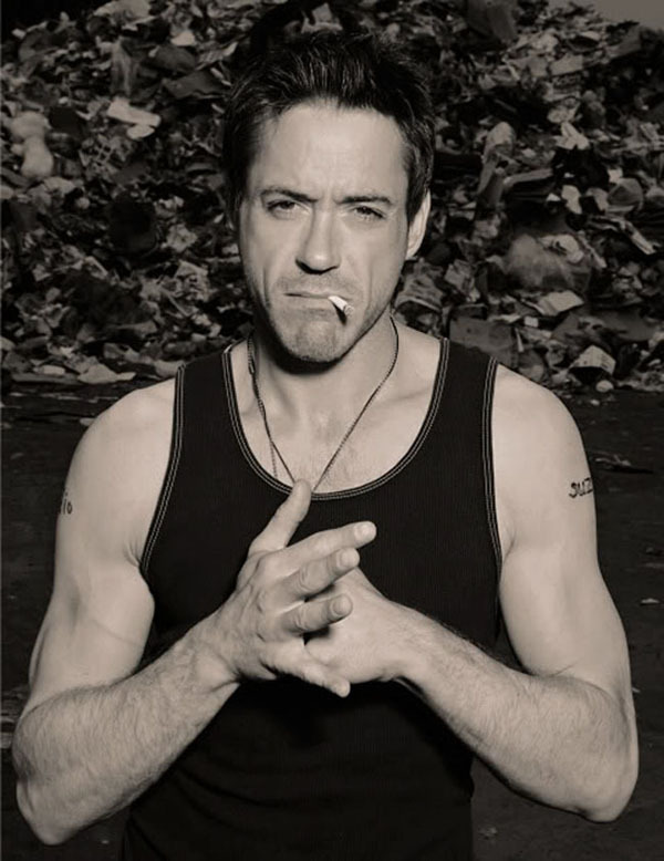 actor, black and white, cigarette, downey, photography, robert downey, robert downey jr, sexy, smoking, tattoo, tattoos