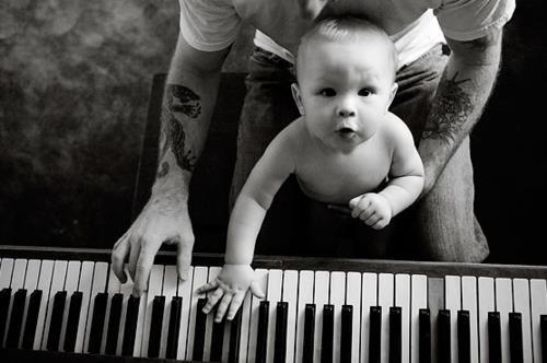 adorable, baby, black and white, child, children, music, piano, pianoforte