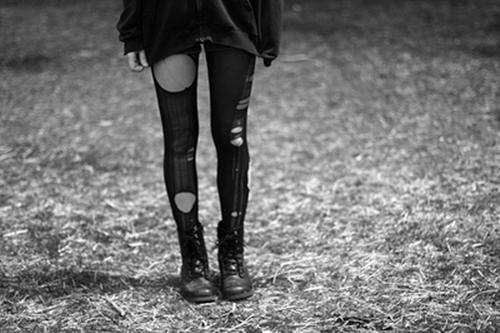 alone, black and white, girl, hot, legs, sad, skinny