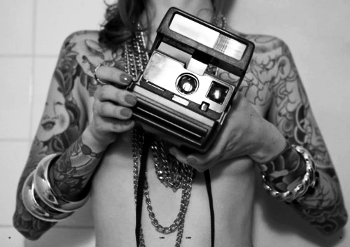 alternative, black and white, camera, ink, inked, tattoed, tattoo, tattoos