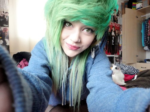 alternative, cute, emo, girl, green hair