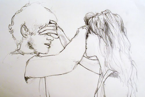 amazing, art, boy, couple, cute, drawing, funny, girl, hide, love, relationship, sketch