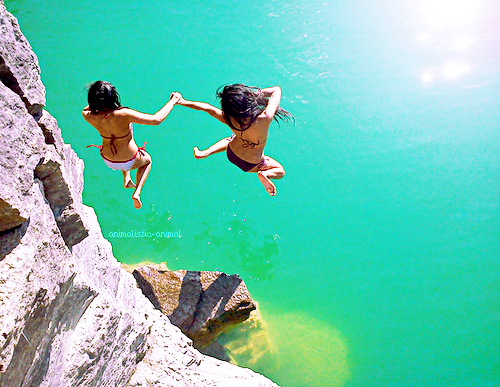 amazing, bikini, cliff, fashion, girls, hair, happy, jump, ocean, rocks, summer, sun, water