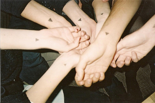 analog, cute, friends, grain, hands