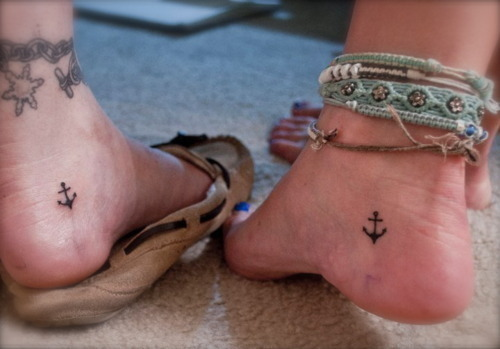 anchor, feet, tattoo