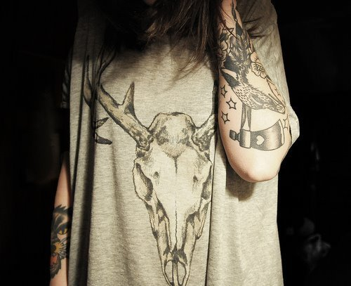 animal, arms, bird, deer head, grey, skull, star, tattoo, wolf