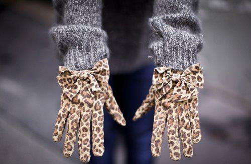 animal print, bow, bows, cheetah print, fashion, gloves, leopard, leopard print