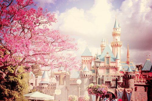 animation, beautiful, castle, cherry blossoms, colourful