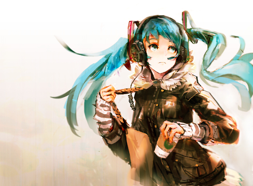 anime, art, drawing, girl, hatsune miku, manga, pretty, starbucks, vocaloid