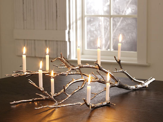 antique, branch, candles, decor, fire