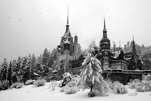 architecture, b&w, black & white, black and white, castle, cute, landscape, mountain, nature, peles castle, photo, photography, place, romania, sinaia, sky, snow, winter