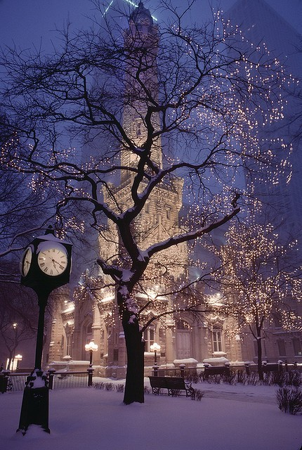 architecture, bench, building, chicago, city, cityscape, clock, doors, frozen, ice, illinois, lights, magnificent mile, photo, photograph, snow, street, street lights, the water tower, trees, urban, windows, winter