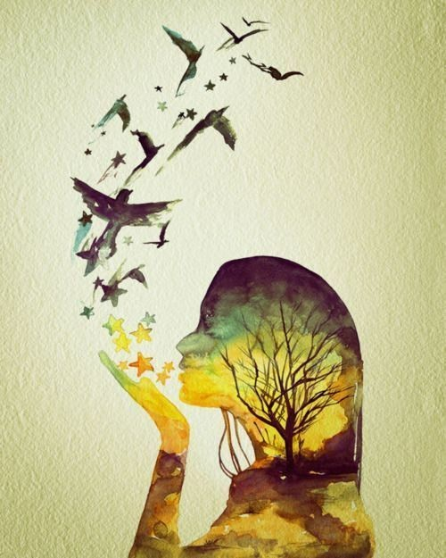 art, beauitful, birds, girl, painting, tree, yellow