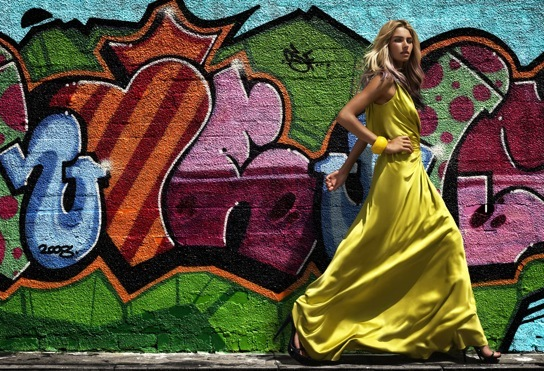 art, blue, catwalk, color, colors, dress, fashion, girl, grafitti, green, hair, model, shoes, summer dress, thin, woman, yellow