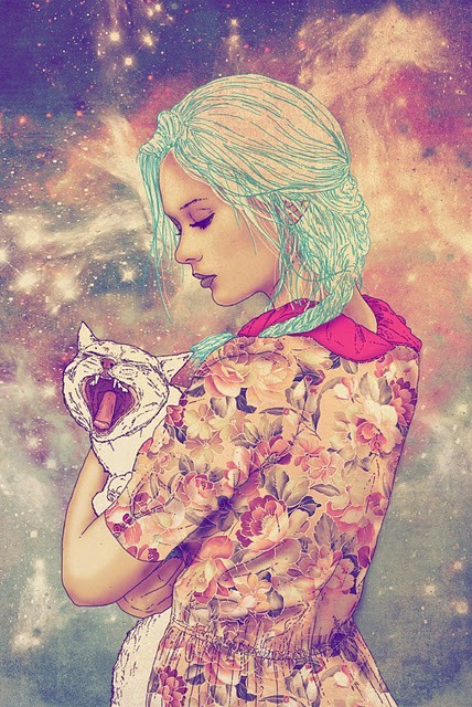 art, blue hair, cat, dress, flowers