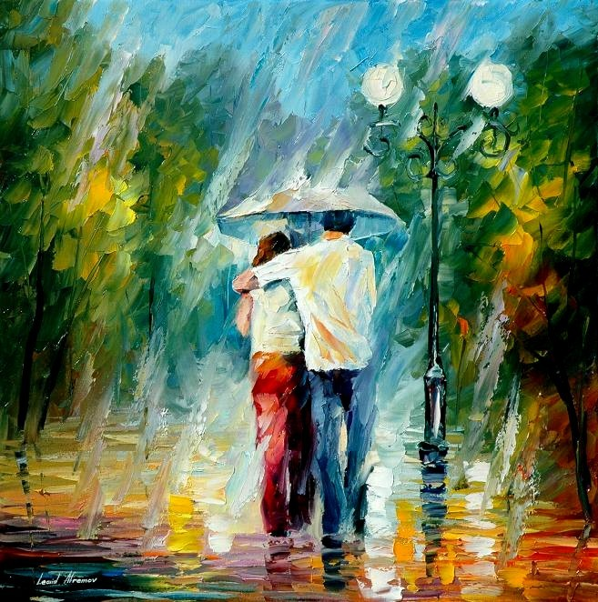 art, couple, leonid afremov, love, paint