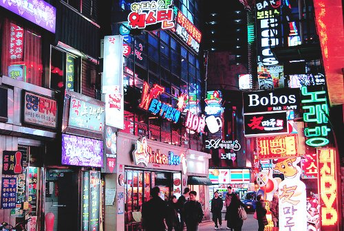 asia, city, exciting, korea, korean, lights, night, nightlife, noraebang, photography, street