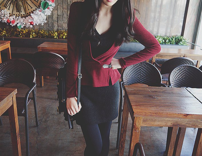 asian, bag, brown hair, clothes, dress